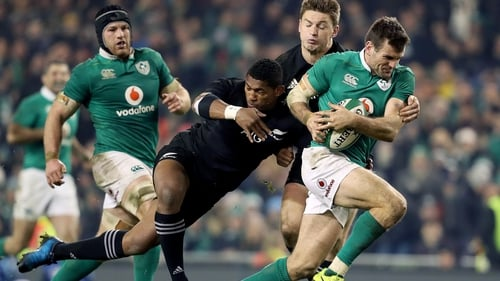 Waisake Naholo in action for New Zealand against Ireland in 2016