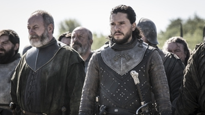 Liam Cunningham and Kit Harington in the final season of Game of Thrones