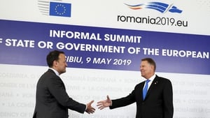 Taoiseach Leo Varadkar welcomed by Romanian President Klaus Iohannis for the summit in Sibiu
