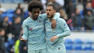 Eden Hazard, right, fired the winning spot-kick as Chelsea edged out Eintracht Frankfurt 4-3 on penalties to book an all-English Europa League final against Arsenal, in what could prove his last act at Stamford Bridge