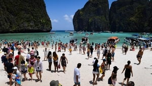 Tourists at Maya Bay, Thailand in April 2018. Photo: Getty