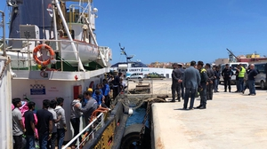 Some of the migrants were brought to the Italian island of Lampedusa