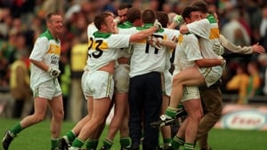 Offaly players celebrate at the end of the game against Meath