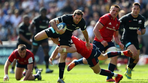 Alex Goode runs with the ball against Munster