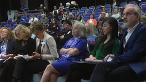 Carmel McDonnell Byrne, Chairperson of the Christine Buckley Centre (in blue) flanked by other speakers at the conference. Like the late Ms Buckley, she is a survivor of the Goldenbridge Orphanage in Dublin, which was run by the Sisters of Mercy