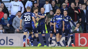 Leeds players celebrate their goal at Derby