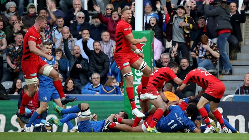 Saracens players celebrate after Billy Vunipola's second half try