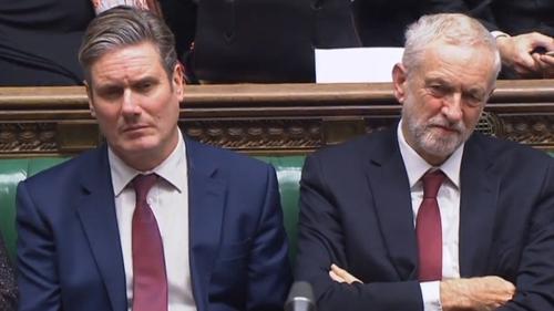 Labour shadow Brexit Secretary Kier Starmer (L) and party leader Jeremy Corbyn