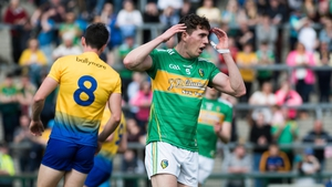 Leitrim's Raymond Mulvey reacts to a missed chance