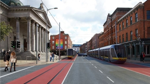 Artist's impression of Washington Street in Cork with Luas trams in operation