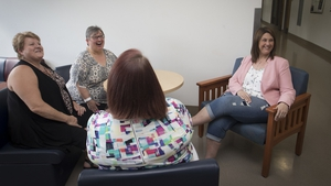 A group of clients at a Bariatric Care suite in a meeting area sitting in appropriately sized chairs. Photo: Obesity Canada https://www.flickr.com/photos/obesitycanada/