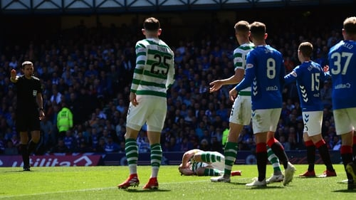 The full-back was booked by for striking Brown