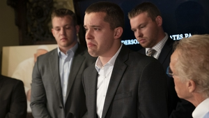 Ben Hoffman became emotional as he spoke of the abuse he and his brothers, Luke, (L), and Stephen (R) had suffered