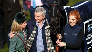 Michael O'Leary and his wife Anita (L) celebrate after Delta Work won the Pertemps Network Final Handicap Hurdle at Cheltenham in 2018