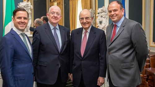 (Left to right) IDA Ireland CEO Martin Shanahan, Justice Minister Charlie Flanagan, US Senator George Mitchell and DLA Piper's David Carthy