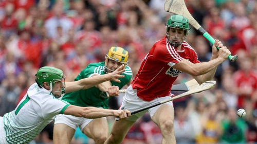 Limerick's Nickie Quaid blocks a shot from Seamus Harnedy of Cork in last year's All-Ireland semi-final