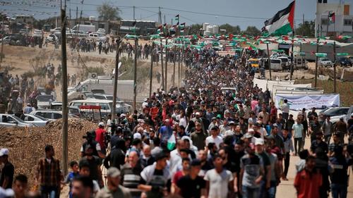 Palestinian demonstrators in  Gaza