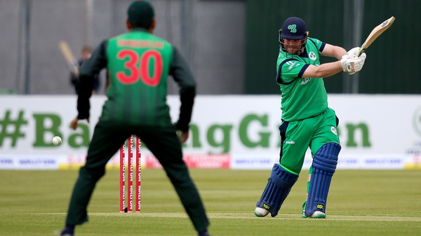 Paul Stirling en route to a very impressive 130 as Ireland went into bat first at Castle Avenue