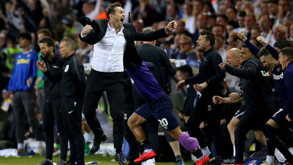 Frank Lampard reacts at the full-time whistle at Elland Road