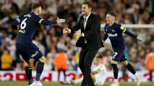 Richard Keogh embraces Derby County manager Frank Lampard at the full-time whistle