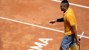 The volatile Australian was playing his second-round match against Norway's Casper Ruud at the Foro Italico