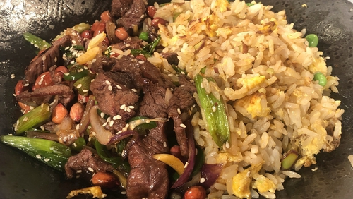 Chili beef stir-fry with garden peas.