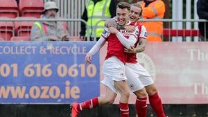 Darragh Markey celebrates scoring with Rhys McCabe