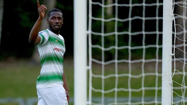 Daniel Carr celebrates his first-half goal against UCD