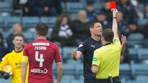 Darren O'Dea was sent-off in his final ever professional game