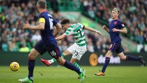 Mikey Johnston scores Celtic's second goal