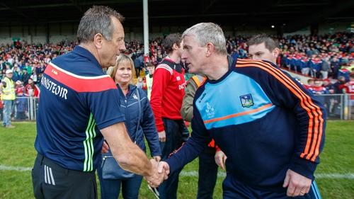 John Kiely shakes hands with Cork's John Meyler after the game