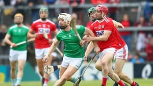 Limerick's Cian Lynch and Daniel Kearney have their eye on the ball at the Gaelic Grounds