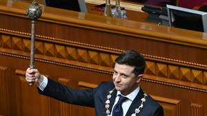Comedian Volodymyr Zelensky has previously played a president on television