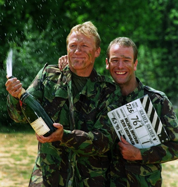 Jerome Flynn and Robson Green celebrating Unchained Melody hitting the top spot in 1995 (Tim Ockenden/PA)