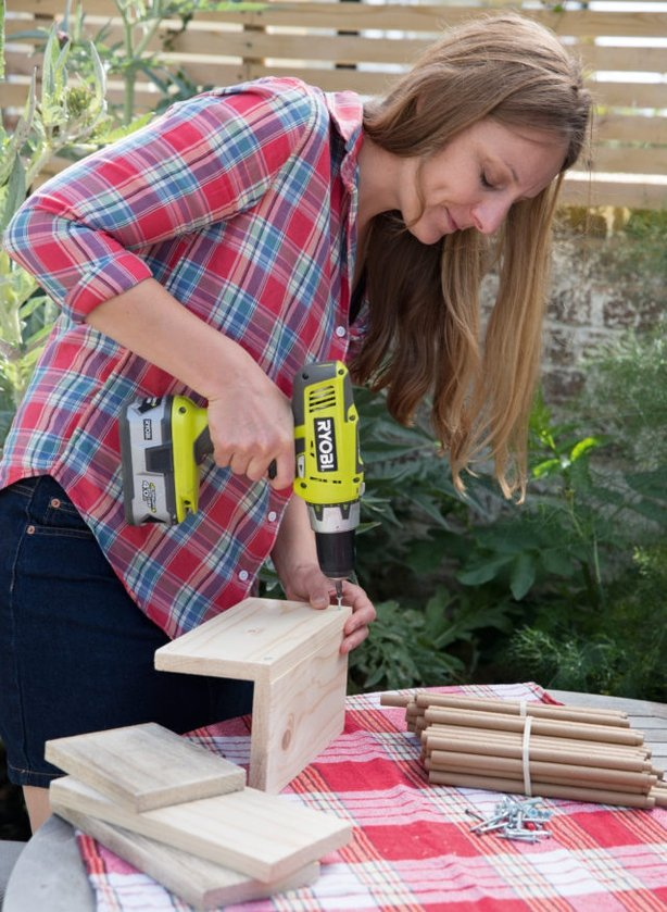 Drill holes to make a wooden box (Sarah Cuttle/PA)