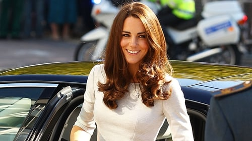 Kate in 2019 with her typical curly blow-dry