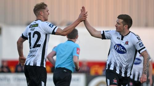 Georgie Kelly celebrates his goal with Patrick McEleney