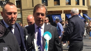 The milkshake was thrown at Nigel Farage during a walkabout in Newcastle