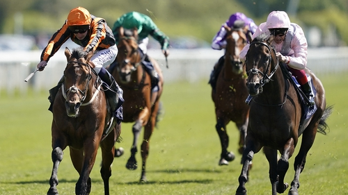 Too Darn Hot (r) in the Dante Stakes