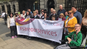 RehabCare service users and their families outside Leinster House