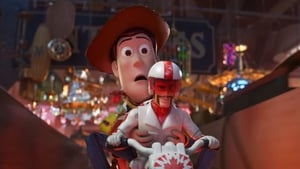 Keanu Reeves voiced new character Duke Caboom, pictured here with Woody