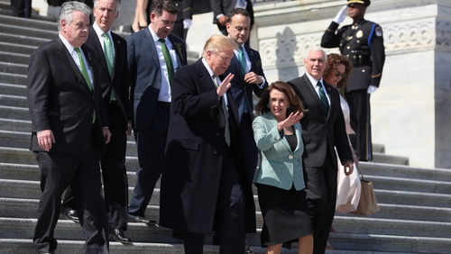 Donald Trump with Nancy Pelosi in March during Taoiseach Leo Varadkar's St Patricks Day visit