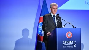 Josef Koller speaking during the UEFA Congress in February this year