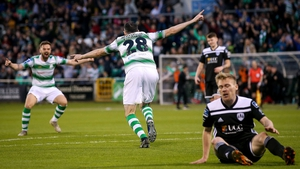 O'Brien celebrating his first goal for Shamrock Rovers