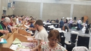 Sorting of votes at a count centre in Banagher, Co Offaly