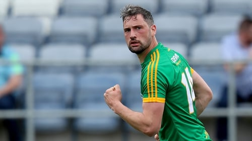 Meath's Mickey Newman celebrates his first-half goal against Carlow