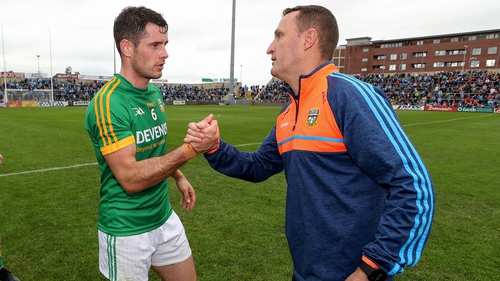 Donal Keoghan and Andy McEntee celebrate after the game