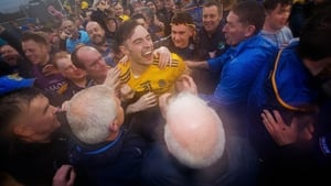 Andrew Glennon celebrates with Roscommon supporters at MacHale Park