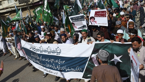 An anti-Indian protest in Karachi following tit-for-tat air strikes in February