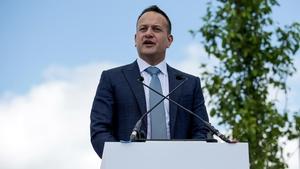An Taoiseach Leo Varadkar speaking at the Curragh